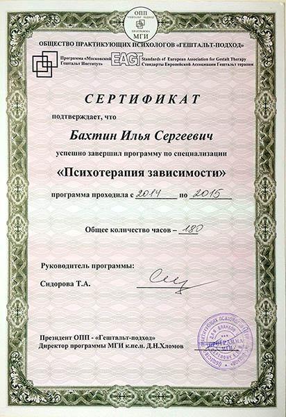 Илья Сергеевич Бахтин дипломы